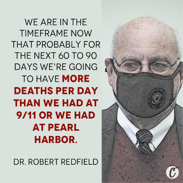 We are in the timeframe now that probably for the next 60 to 90 days we're going to have more deaths per day than we had at 9/11 or we had at Pearl Harbor. — Dr. Robert Redfield, director of the CDC