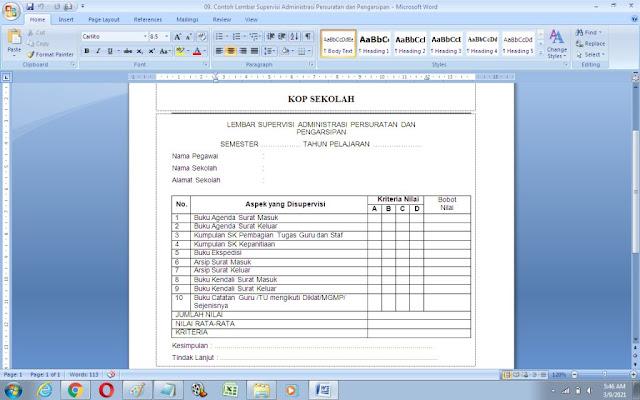 Contoh Lembar Supervisi Administrasi Persuratan dan Pengarsipan