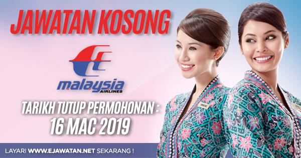 jawatan kosong Malaysia Airlines Berhad (MAB) 2019