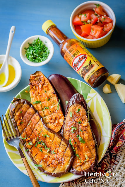FIVE ingredient Chipotle Grilled Eggplant