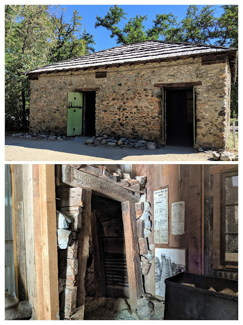 Two collaged photos show the outside of the building and the entrance to a mockup of an underground mine inside.