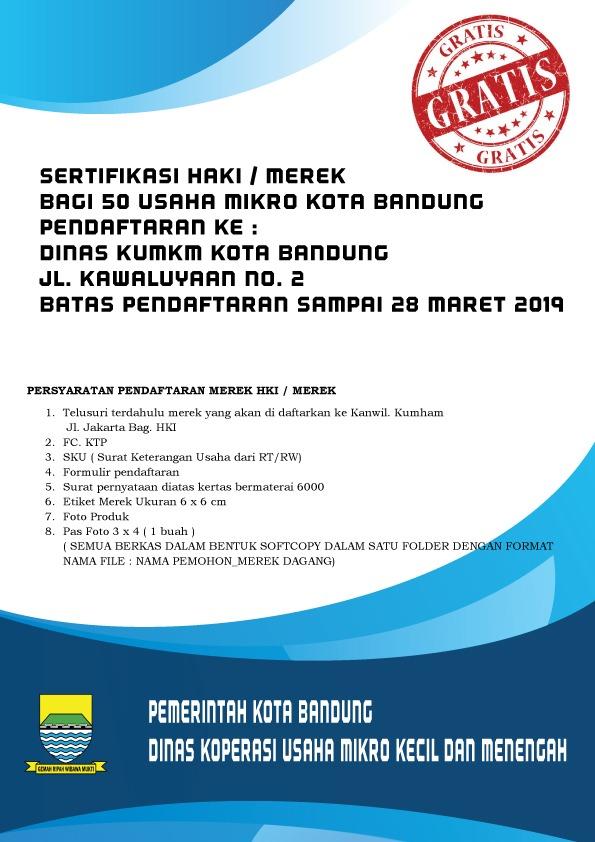 Sertifikasi HAKI / Merek untuk 50 Usaha Mikro Kota Bandung