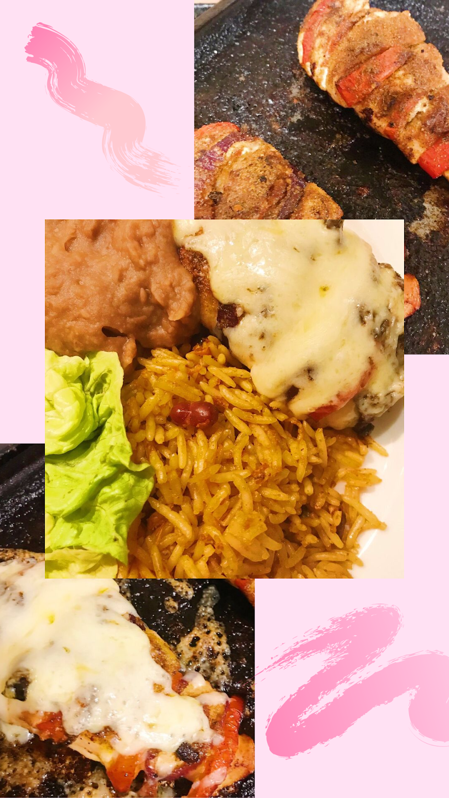 collage - chicken stuffed with onion and pepper, chicken covered in melted cheese, closeup of plate with chicken, rice, salad and refried beans