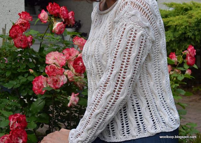 sweter Muskat, ażur, róża Jubilee du Prince de Monaco