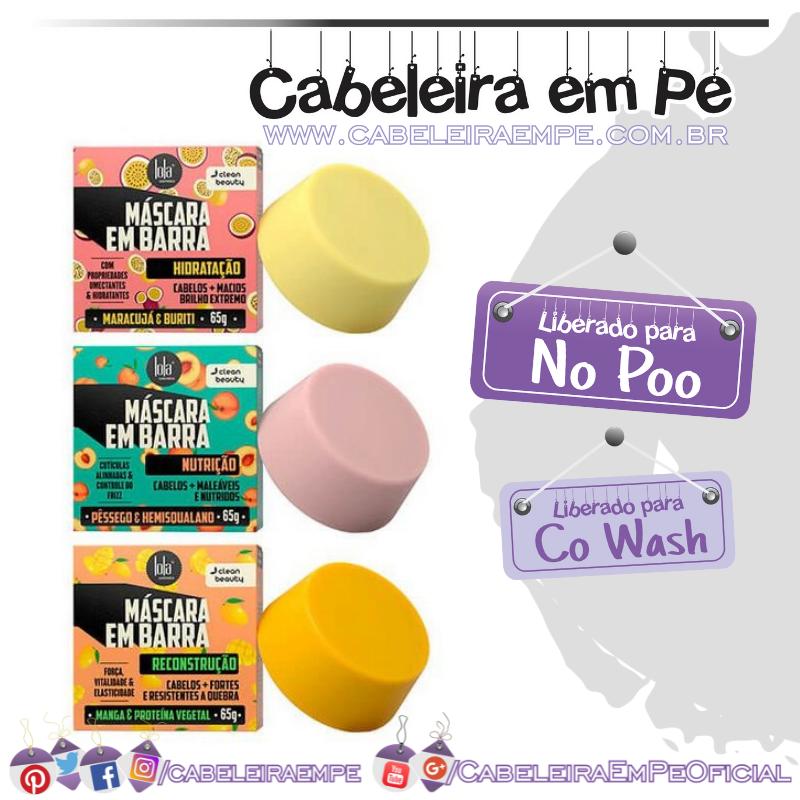 Máscaras em Barra Hidratação, Nutrição e Reconstrução - Lola (No Poo e co wash)