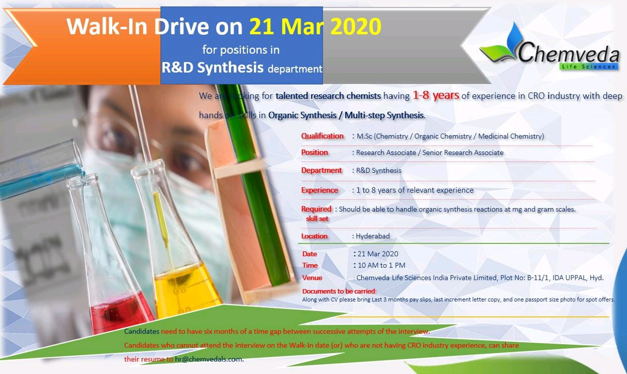 Chemveda Lifescience - Walk in Drive for R&D on 21st March 2020