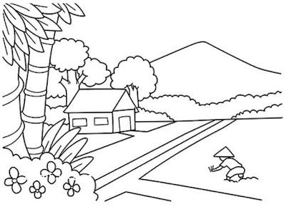 Gambar Sketsa Pemandangan Sawah Gunung