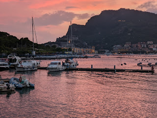 Rosy dusk view of Portovenere from Locanda Lorena (Palmaria)