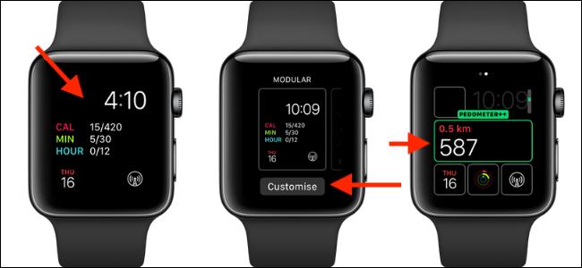 ثلاث ساعات Apple مع مضاعفات عداد الخطى ++ على الوجه.