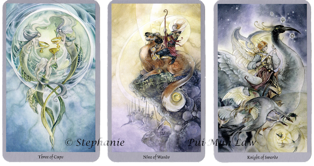 Shadowscapes Tarot Three of Cups Nine of Wands Knight of Swords