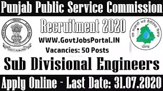 PPSC Recrutiment 2020 Notification -Sub-Divisional Engineers Recruitment in Punjab PSC