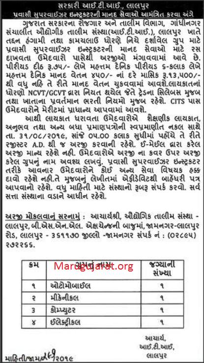 ITI Lalpur (Jamnagar) Recruitment For Pravasi Supervisor