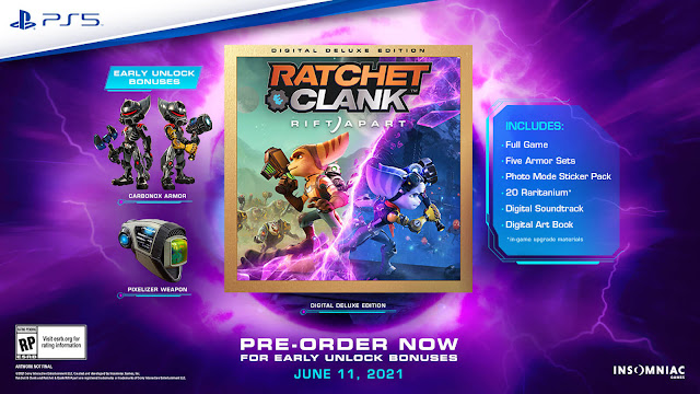 ratchet & clank rift apart ps5 exclusive digital deluxe edition five armor sets photo mode sticker pack raritanium art book original soundtracks in-game upgrade 2021 third-person shooter performer insomniac games sony interactive entertainment