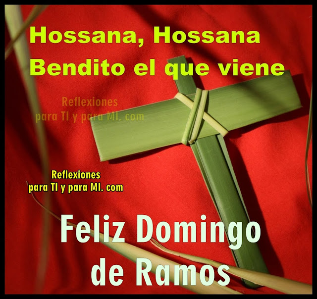 Hossana, Hossana Bendito el que viene.  FELIZ DOMINGO DE RAMOS