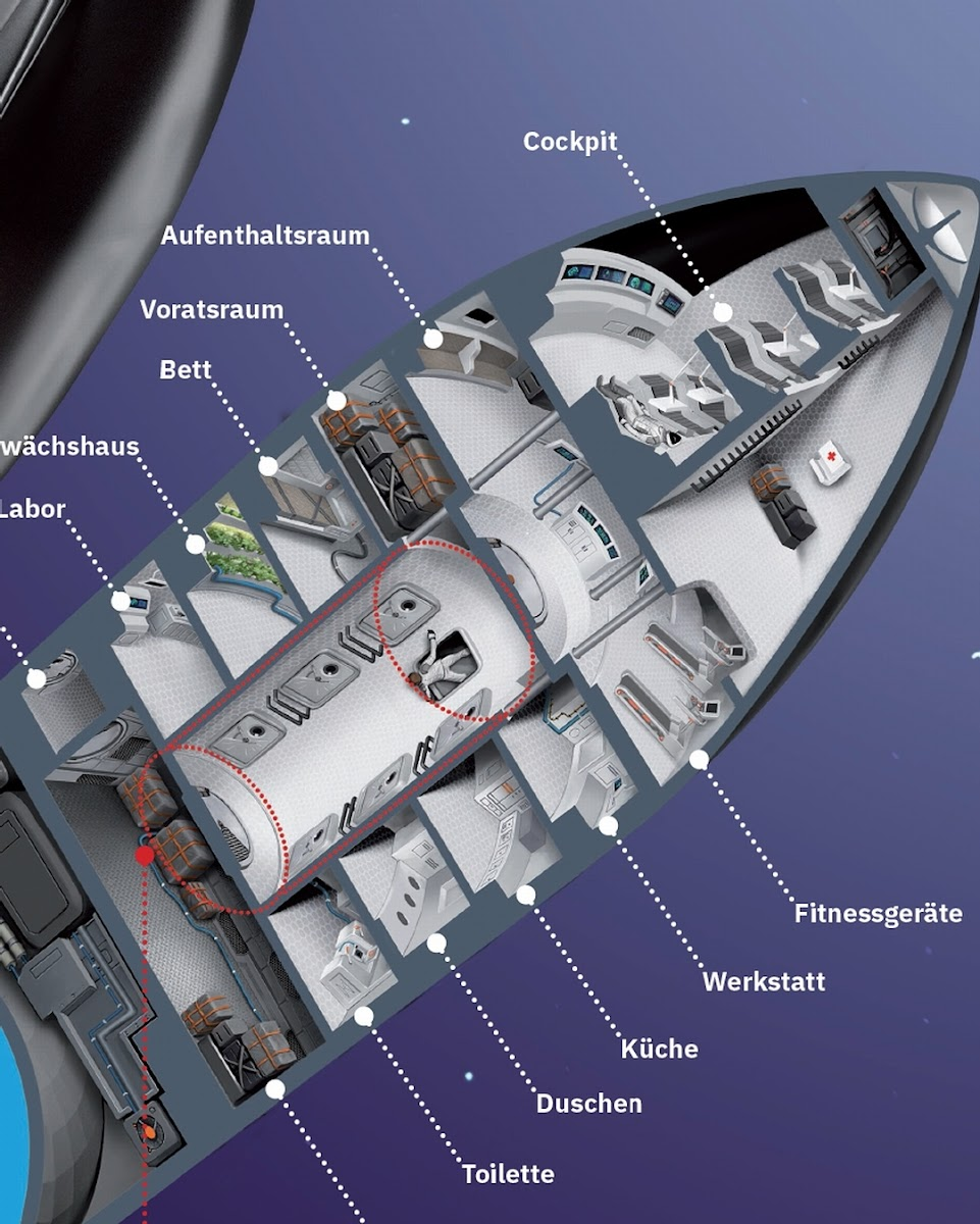 SpaceX Starship cutaway diagram by Julian Schindler - closeup of crew section