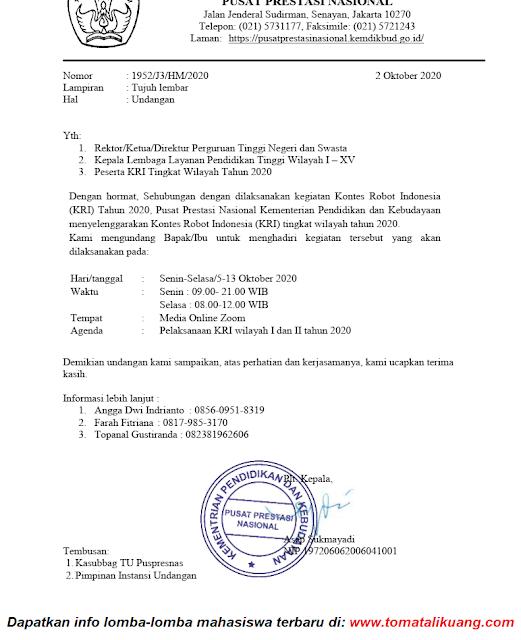 jadwal pelaksanaan kontes robot indonesia kri tingkat wilayah tahun 2020 tomatalikuang.com