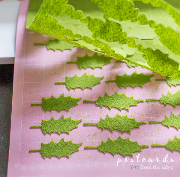 felt leaves on cricut cutting mat