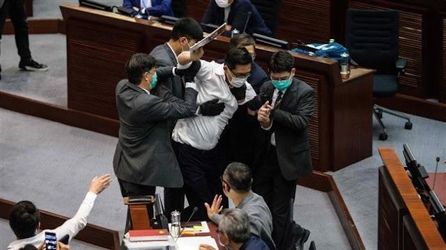 Lawmakers brawl at Hong Kong parliament