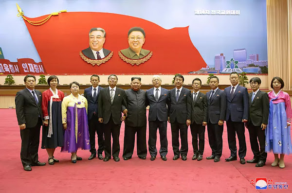 Kim Jong Un with members of a delegation of education officials of the General Association of Korean Residents in Japan, September 6, 2019