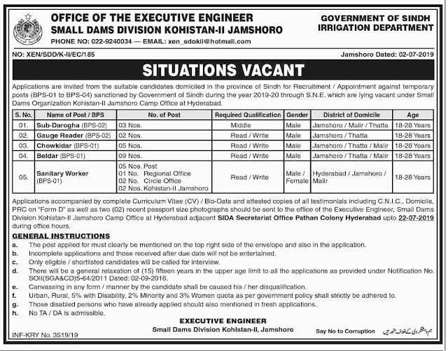 Jobs In Office Of The Executive Engineer Small Dams Division Kohistan 05 July 2019
