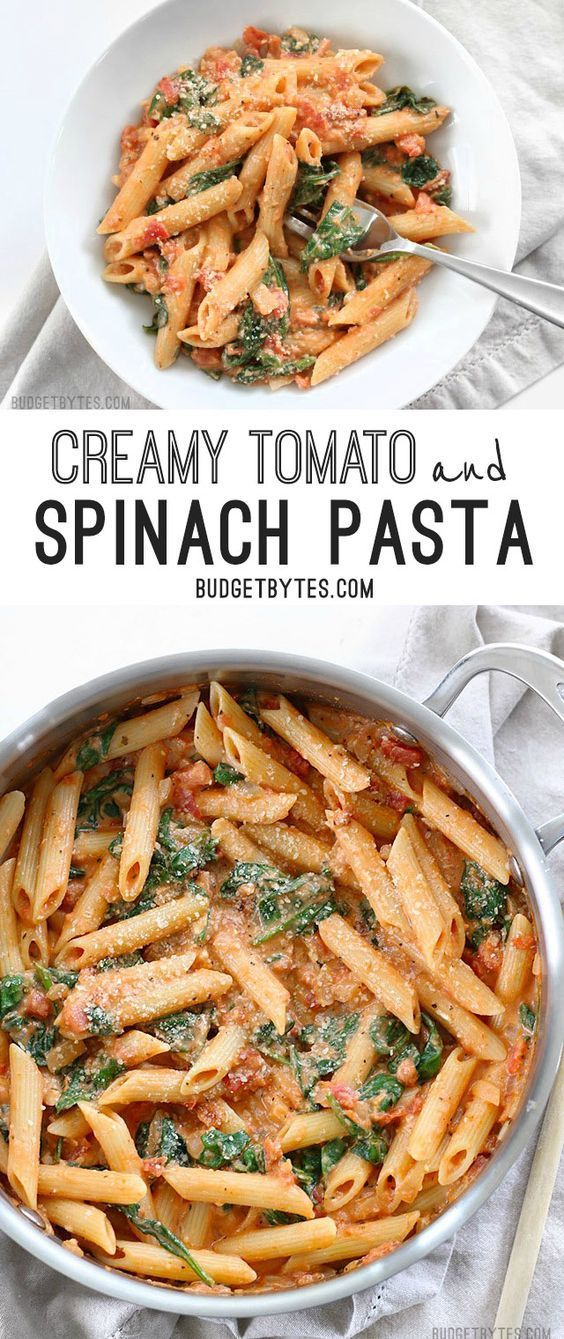 CREAMY TOMATO AND SPINACH PASTA #recipes #dinnerrecipes #healthyrecipes #easyhealthydinnerrecipes #food #foodporn #healthy #yummy #instafood #foodie #delicious #dinner #breakfast #dessert #lunch #vegan #cake #eatclean #homemade #diet #healthyfood #cleaneating #foodstagram