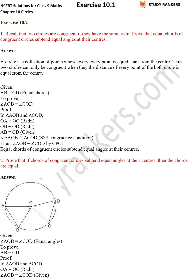 NCERT Solutions for Class 9 Maths Chapter 10 Circles Exercise 10.2 Part 1
