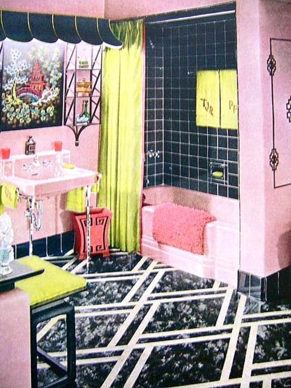 fabulous retro pink bathroom | Farm Girl Pink....: ~ Pink Bathrooms.... the vintage years ...