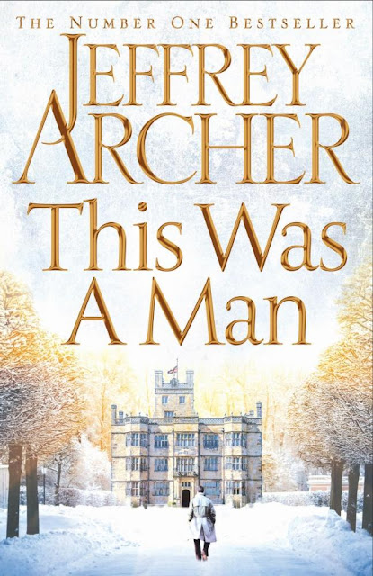 The cover art of This Was a Man by Jeffrey Archer featuring a lone figure of a man walking through snow towards a manor house.