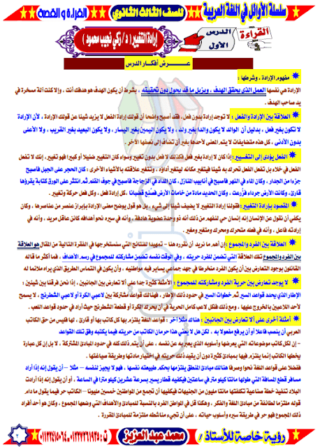 مذكرة مادة اللغة العربية للصف الثالث الثانوى
