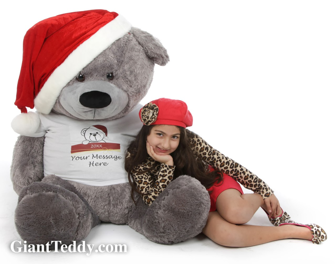 52in Personalized Teddy Bear Diamond Shags In Santa Hat - Wonderful Christmas Gift