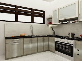 desain Kitchen Set Texture Metal - Stainless Steel - Top Table Granit Impor 01