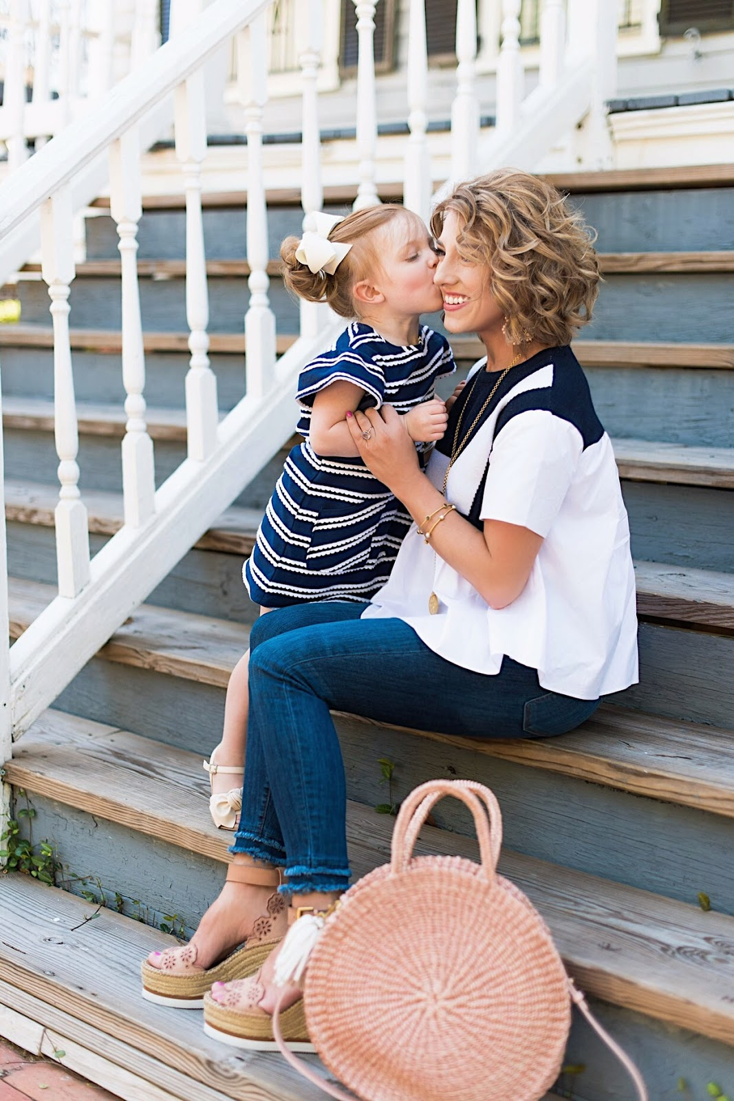 Mommy and me in navy and white - Something Delightful Blog