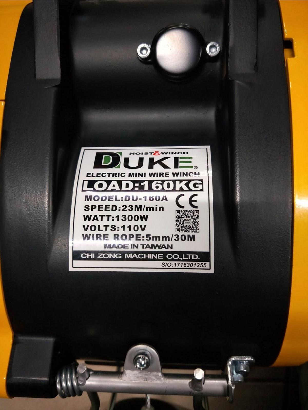 Tời cáp điện Duke treo mini DU-160A nâng 160kg