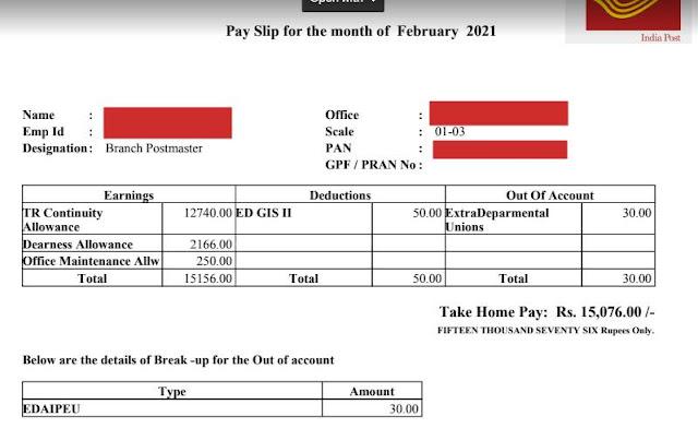 जीडीएस बीपीएम के वेतन व टीआरसीए की पूरी जानकारी  gds bpm salary slip of February 2021 month
