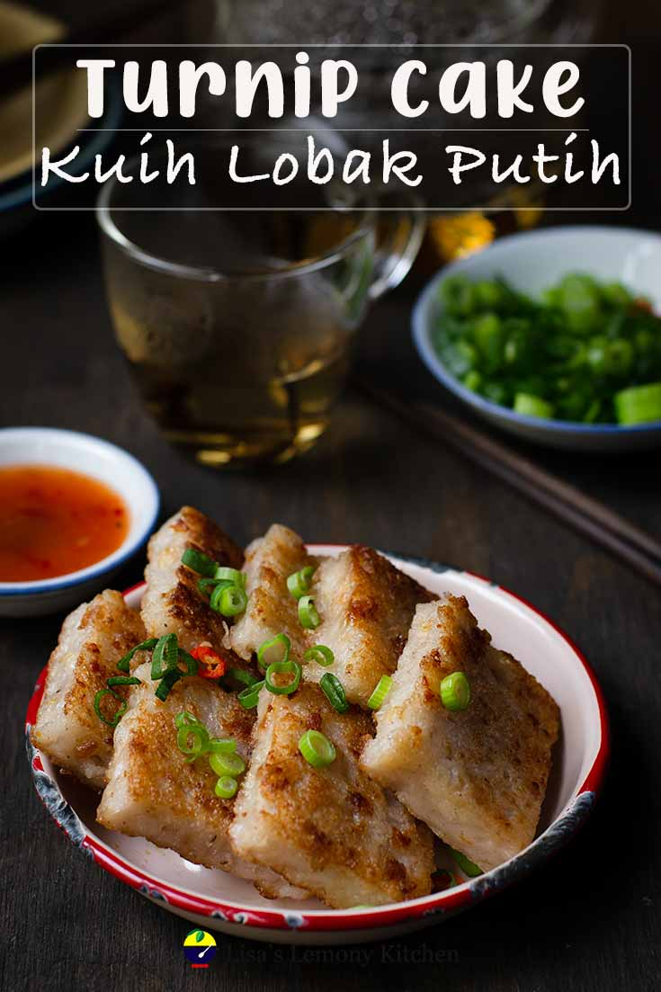 Chinese turnip cake is a popular Chinese dim sum dish. Its called turnip cake but this cake only uses radish or daikon.