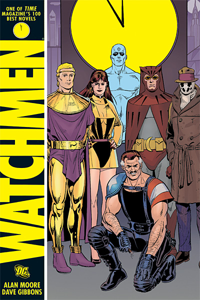 'Watchmen' book cover showing Ozymandias, Silk Spectre, Dr. Manhattan, Nite Owl, and Rorschach, with Comedian kneeling in front, clock face behind them all