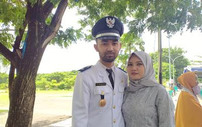 Kepala Desa Karang Sidemen Kecamatan Batukliang Utara Lombok Tengah, Yuda Praya Cindra Budi SH bersama Istri
