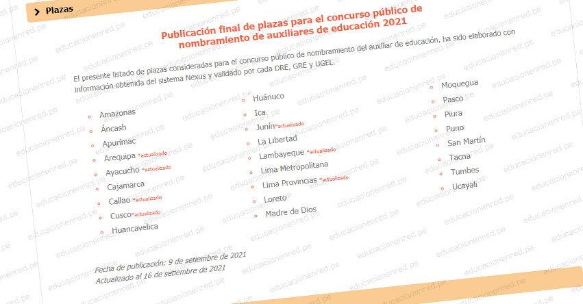 MINEDU: Publicación final de plazas para Nombramiento de Auxiliares de Educación 2021 [ACTUALIZADO 16 SETIEMBRE]