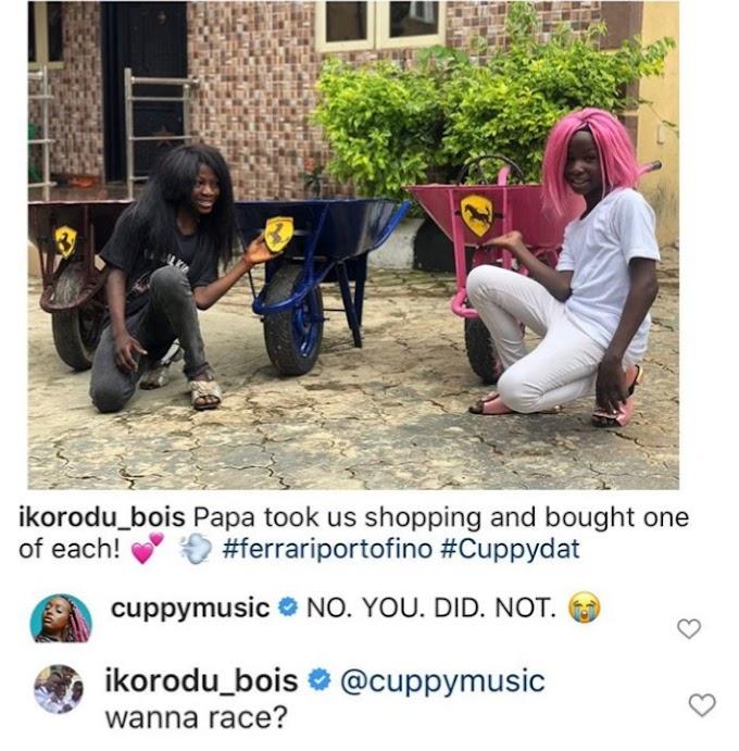 IKORODU BOIS GOT DJ CUPPY'S ATTENTION OVER RECREATING THE PHOTOS OF THEIR NEW FERRARI,(PHOTOS).