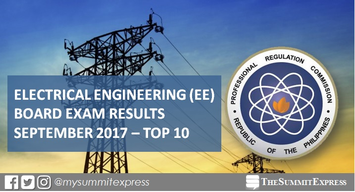 September 2017 Electrical Engineer REE, RME board exam results