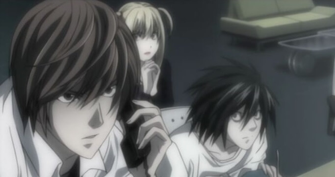 Yagami Light, L and Misa Amane of Death Note