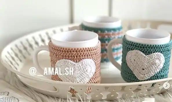 Tutorial Sujeta Taza de Corazones a Crochet