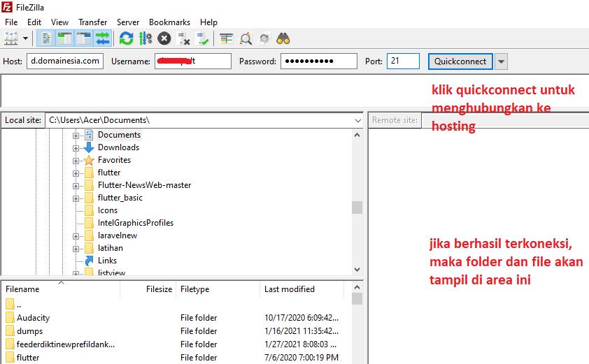Cara transfer data menggunakan filezilla