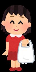 ビニール袋を持つ人のイラスト(女の子)