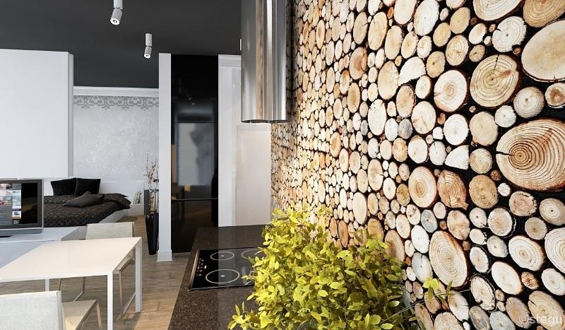 Architektura z kolorem drewno do komink w - Texture in interior design ...