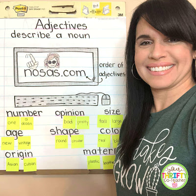 This adjectives anchor chart is a great visual for reviewing adjectives with upper elementary students.