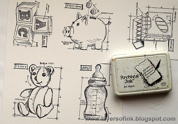Layers of ink baby blueprint tutorial start by stamping blueprint images on watercolour paper with jet black ink it is important to use a waterproof ink since we are going to use water malvernweather Gallery