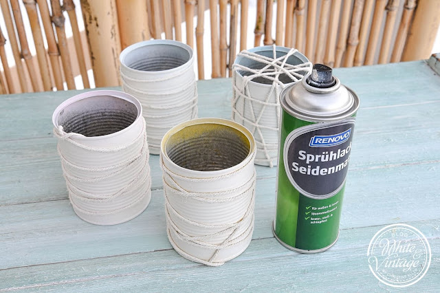 Dosen-Pflanzgefäße mit Kreidefarbe lackieren.