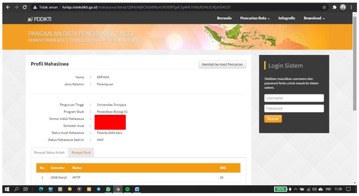 gambar Cara memperbaiki Status Aktif Pada Forlap Dikti Khusus Untuk Universitas Sriwijaya