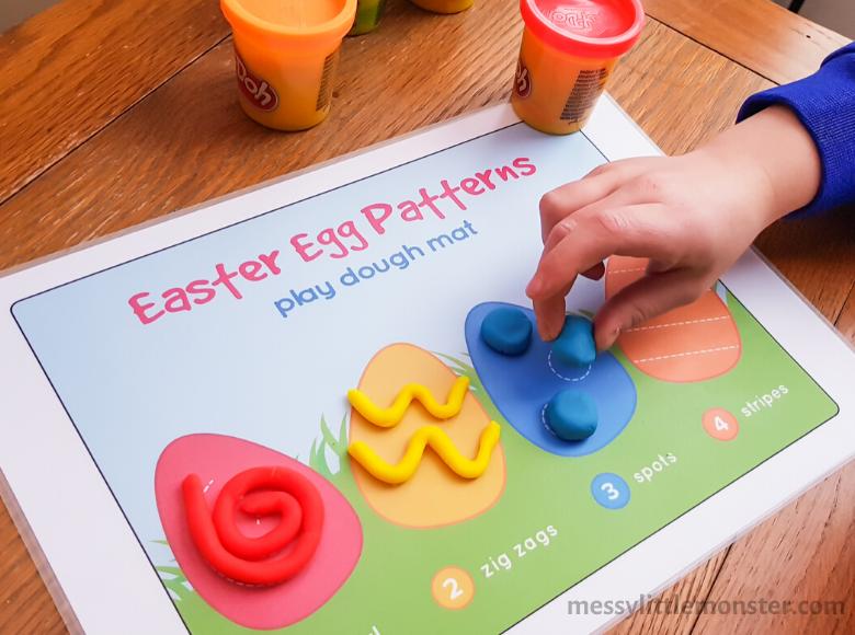 Easter playdough activity for preschoolers